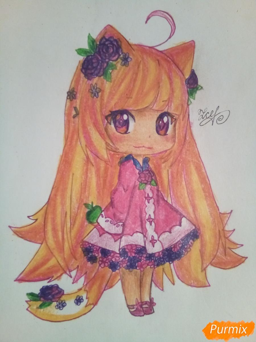 Как нарисовать чиби девочку лисичку с розами поэтапно