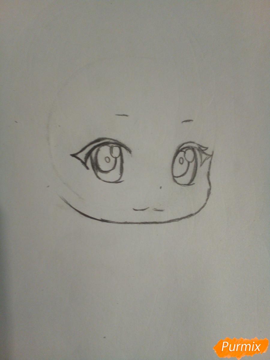 Рисуем чиби девочку лисичку с розами - шаг 2