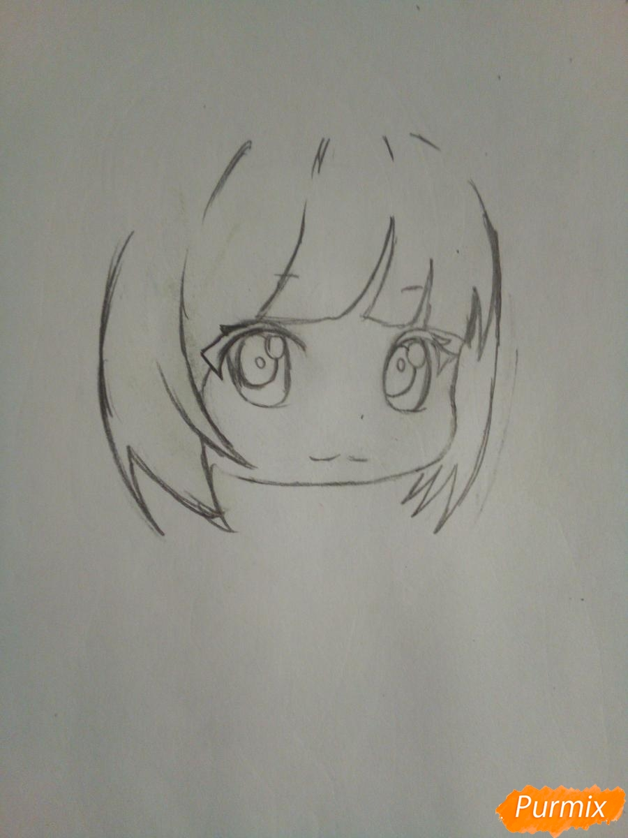 Рисуем чиби девочку лисичку с розами - шаг 3