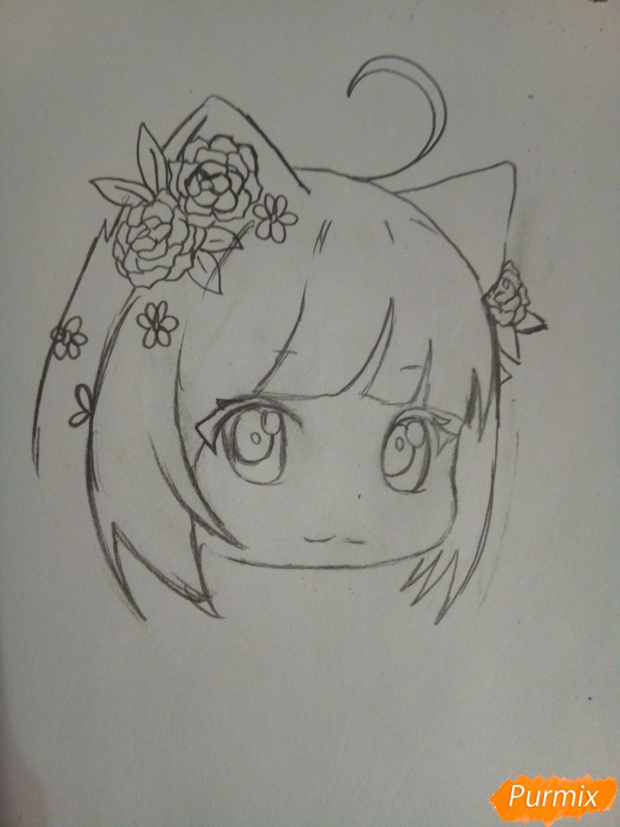 Рисуем чиби девочку лисичку с розами - шаг 4