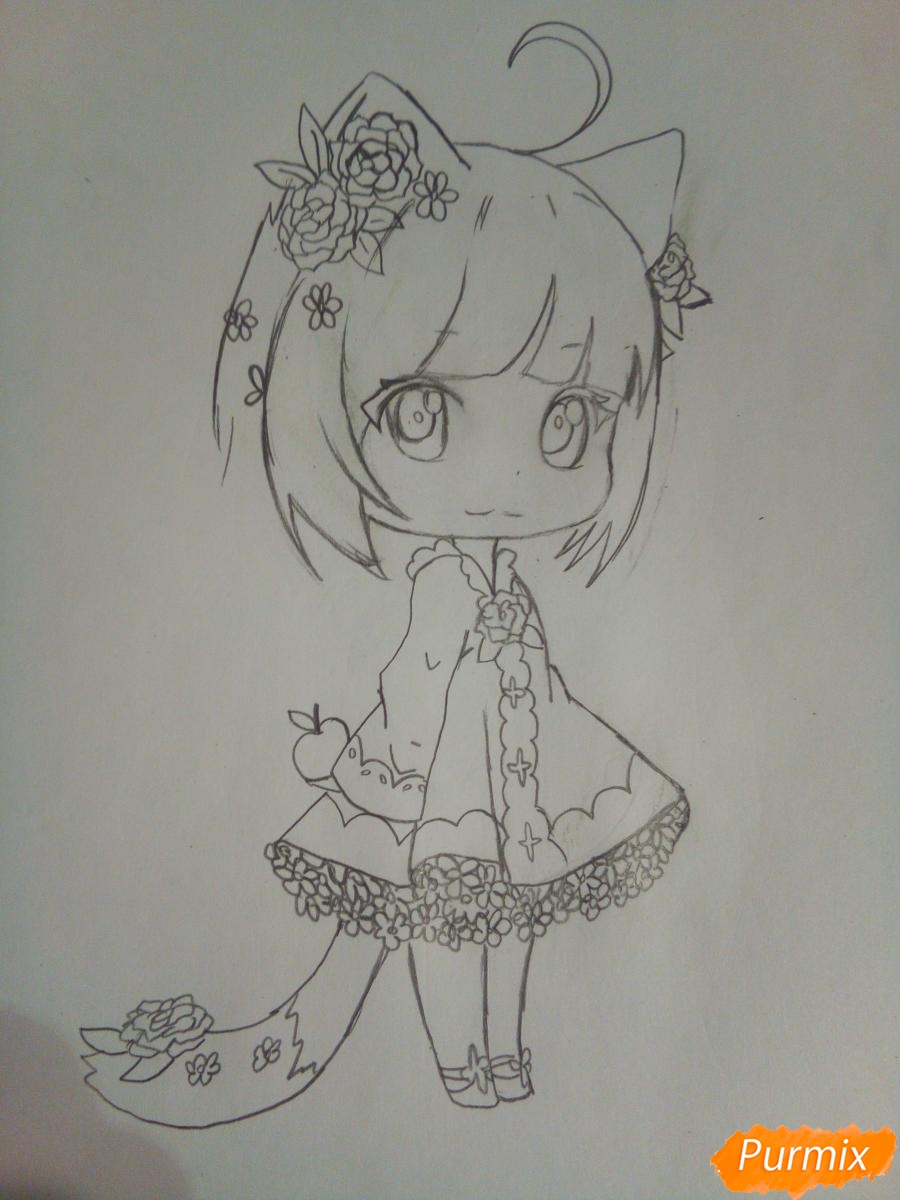 Рисуем чиби девочку лисичку с розами - шаг 7