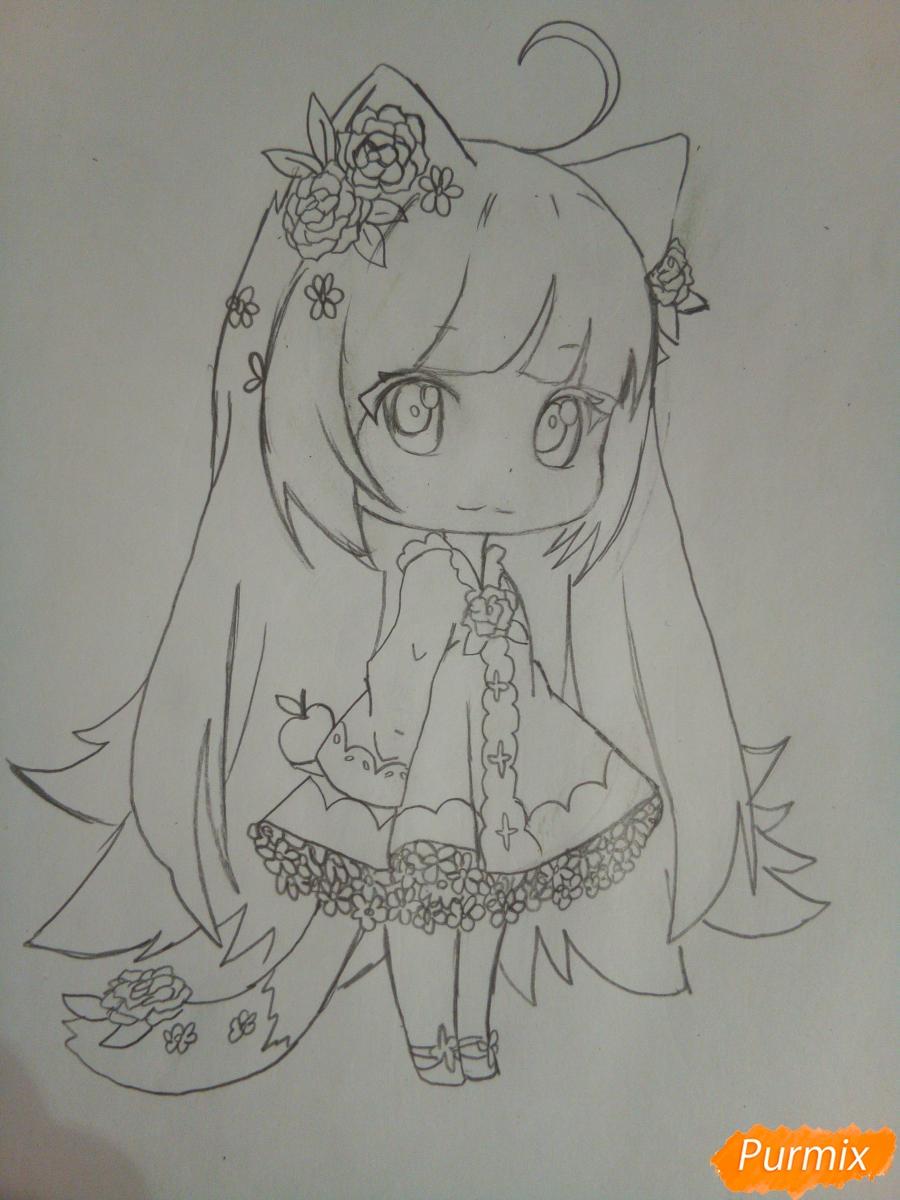 Рисуем чиби девочку лисичку с розами - шаг 8