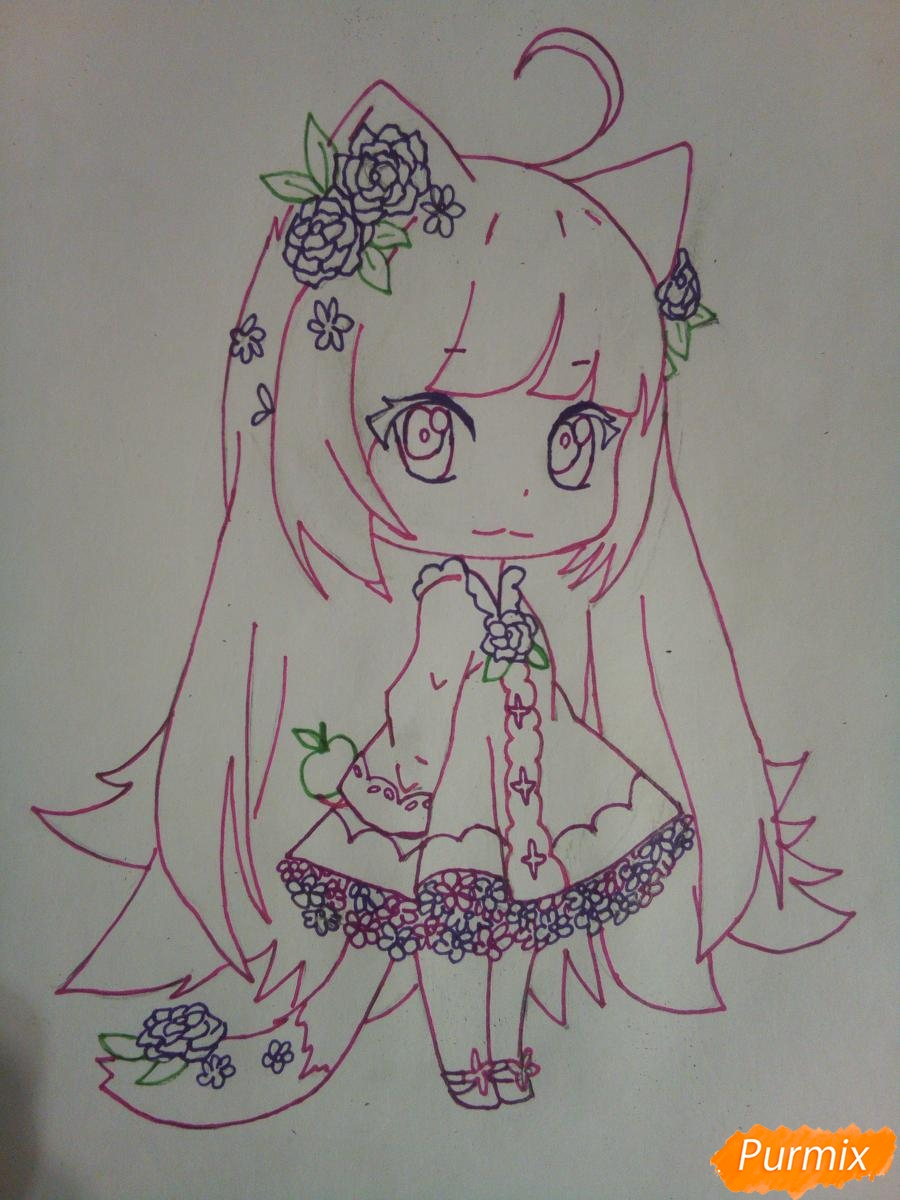Рисуем чиби девочку лисичку с розами - шаг 9