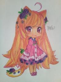 Рисунок чиби девочку лисичку с розами