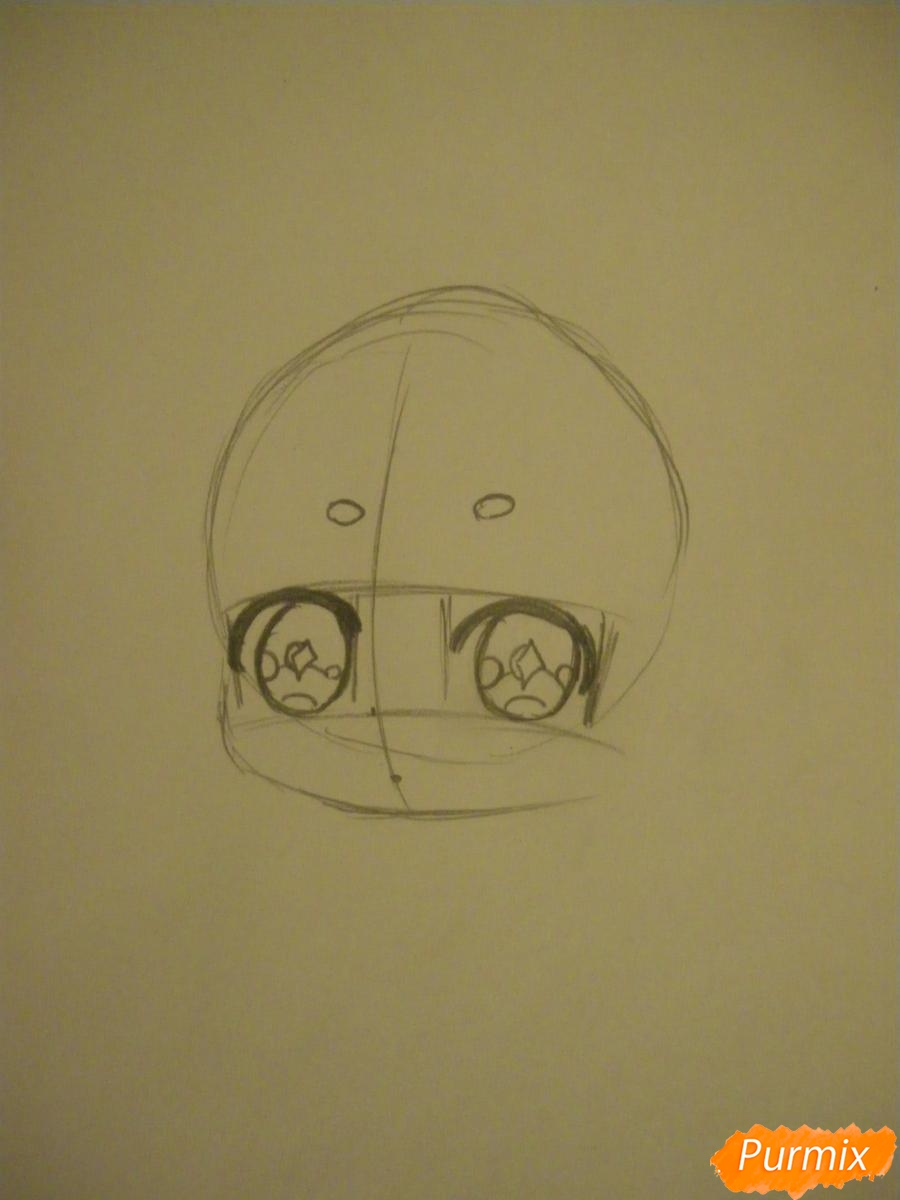 Рисуем девочку оленя в стиле чиби карандашами - шаг 2