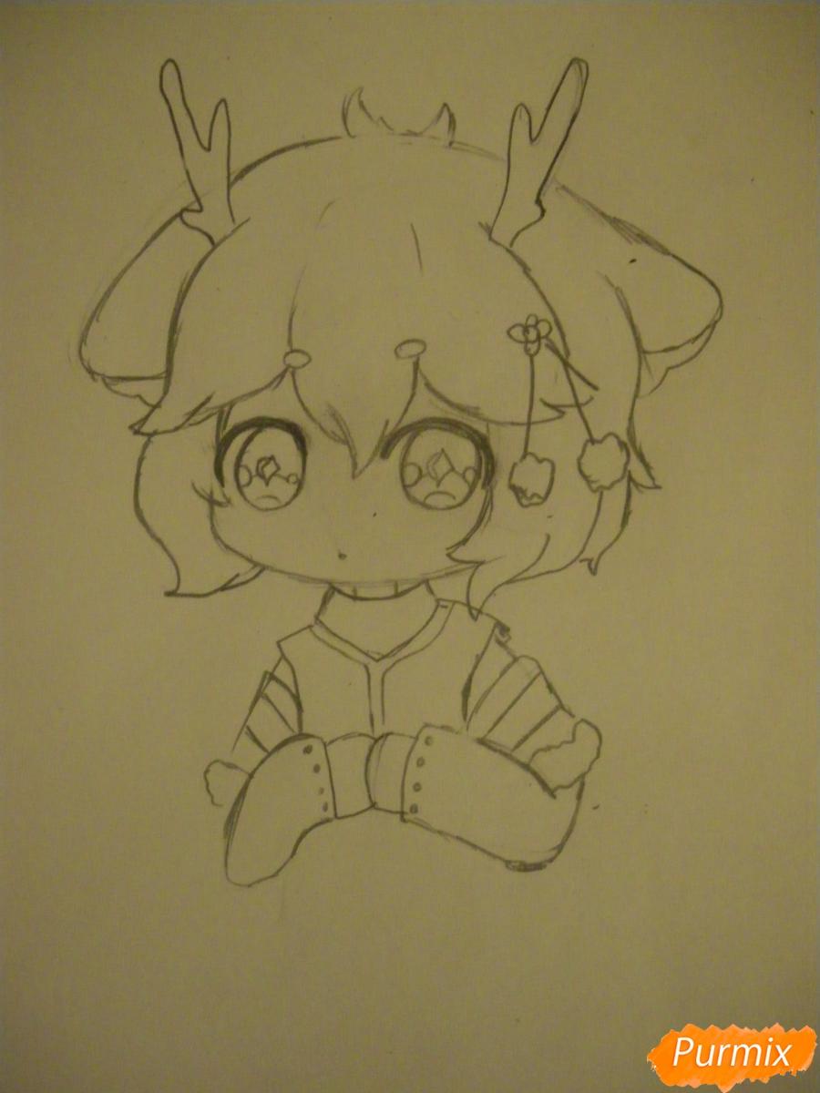 Рисуем девочку оленя в стиле чиби карандашами - шаг 5