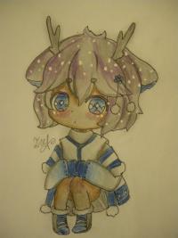 девочку оленя в стиле чиби карандашами
