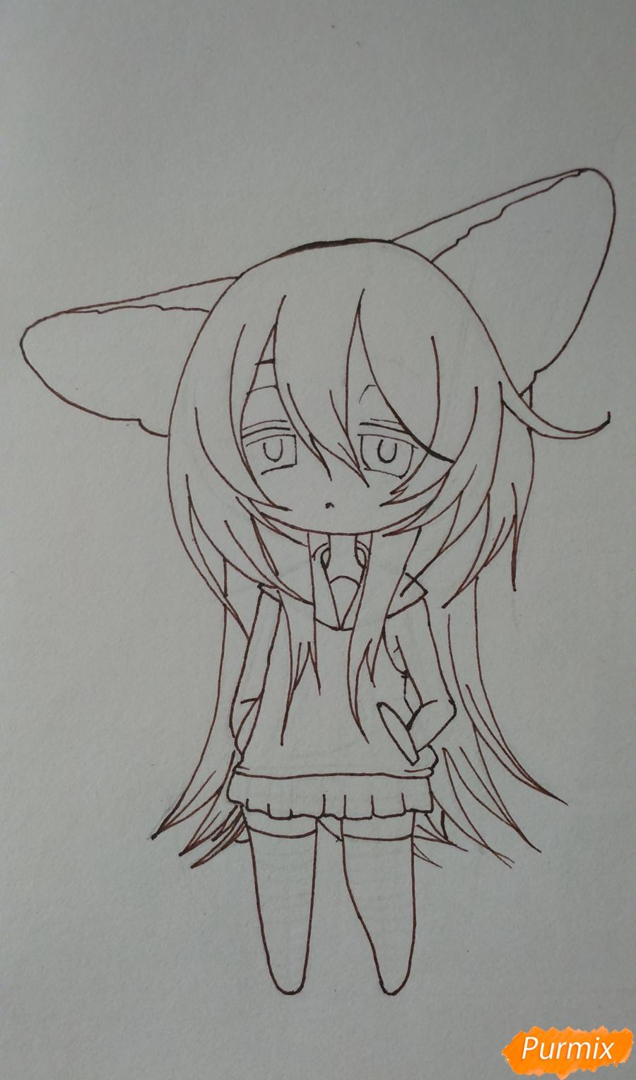 Учимся рисовать грустную девочку-чиби - шаг 11