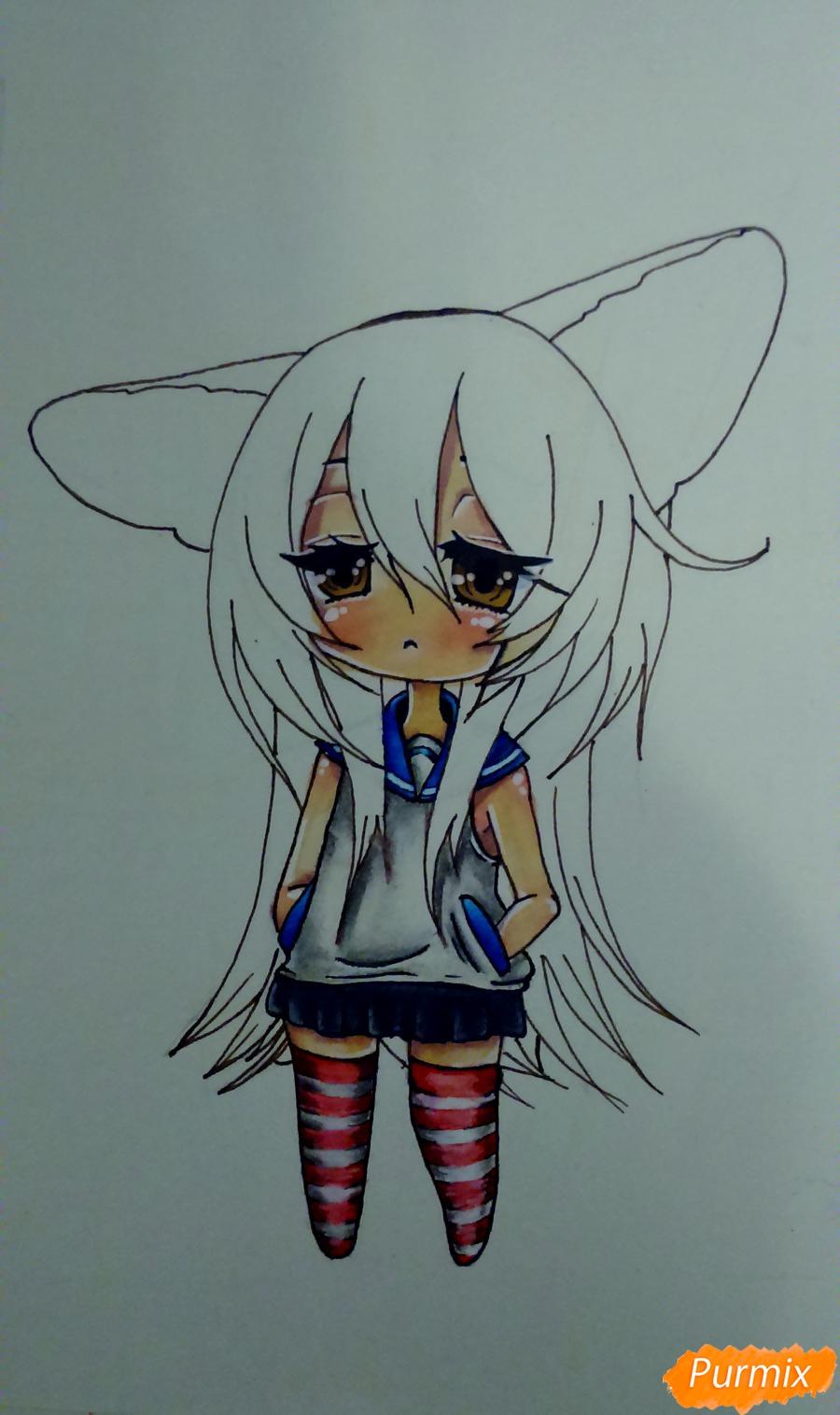 Учимся рисовать грустную девочку-чиби - шаг 13