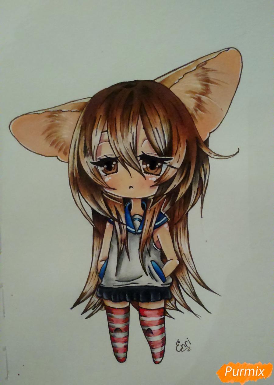 Учимся рисовать грустную девочку-чиби поэтапно