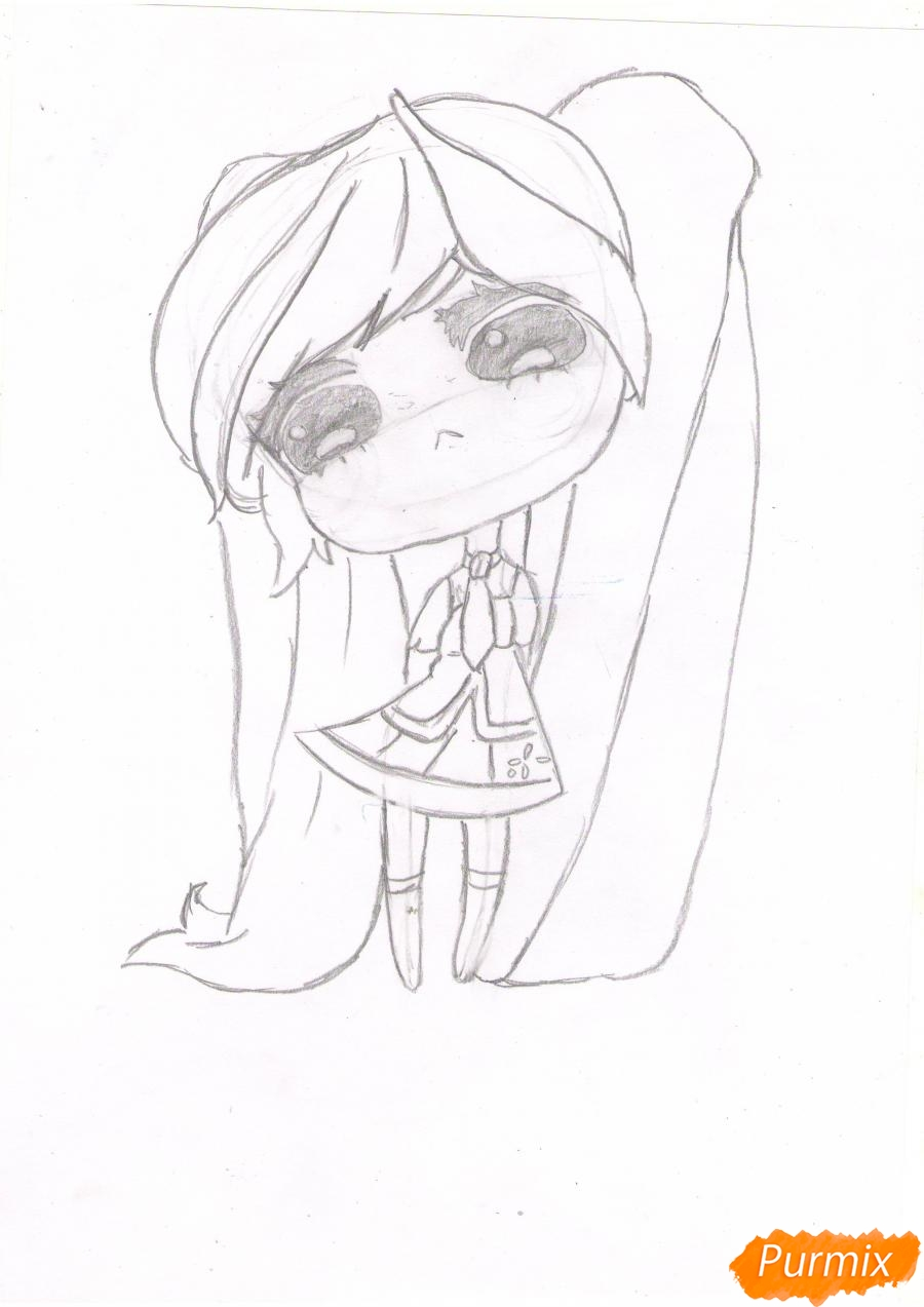 Рисуем грустную Хацунэ Мику в чиби стиле - шаг 4