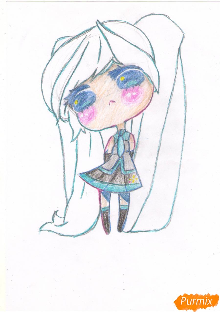 Рисуем грустную Хацунэ Мику в чиби стиле - шаг 7