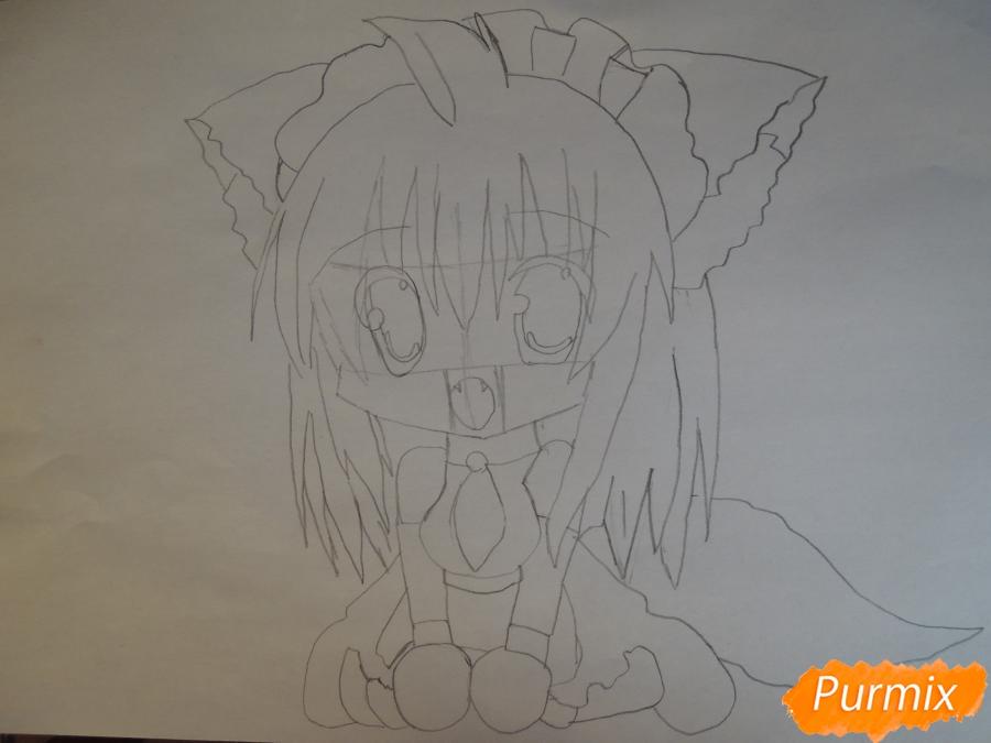 Рисуем и раскрасить сидящею девушку кошечку в стиле чиби - шаг 4