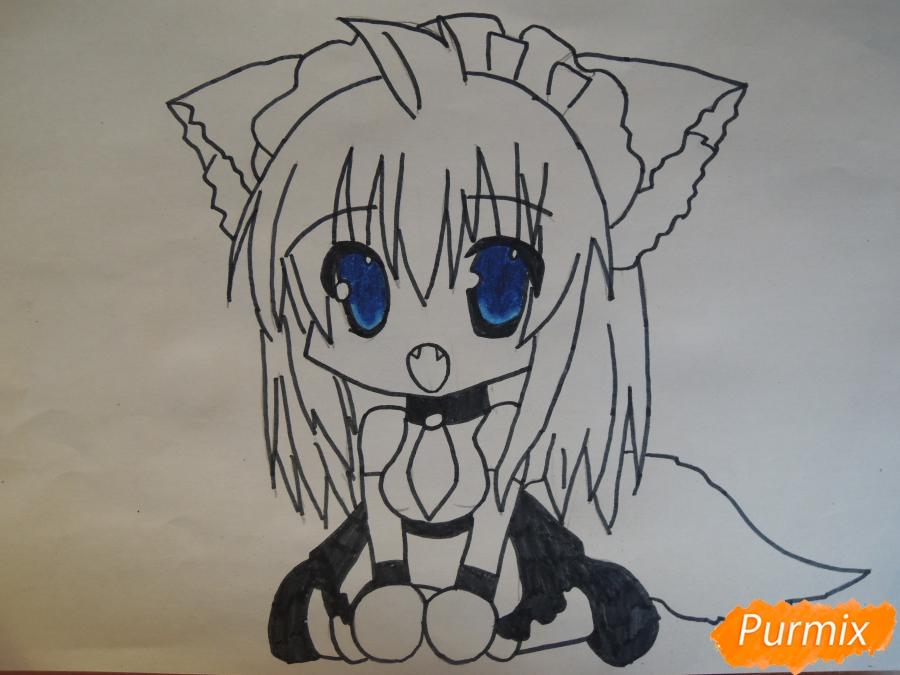 Рисуем и раскрасить сидящею девушку кошечку в стиле чиби - шаг 5