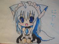 Рисунок и раскрасить сидящею девушку кошечку в стиле чиби