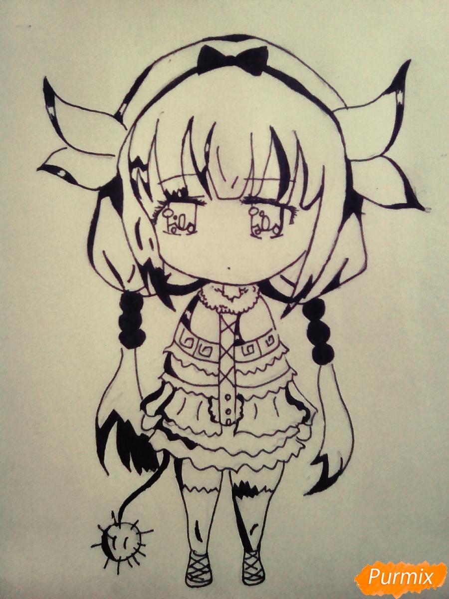 Рисуем Канну из аниме Дракон-горничная карандашами - шаг 5