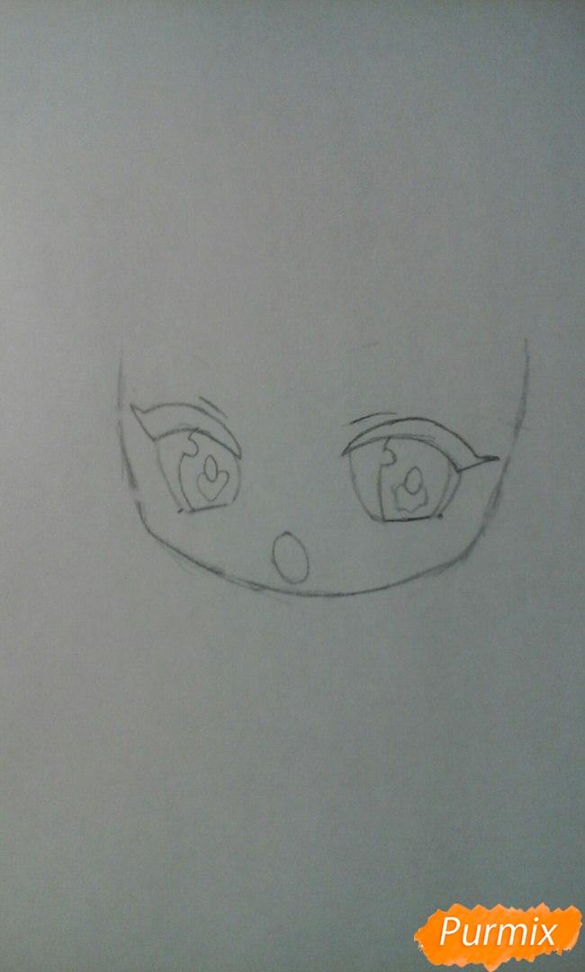 Рисуем и разукрасить Кисе Рёту в стиле чиби - шаг 3