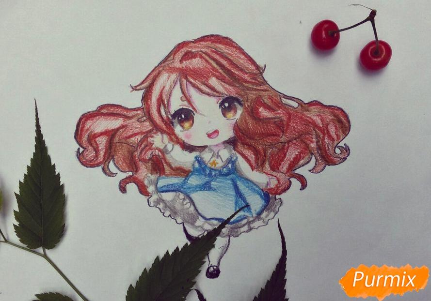 Как нарисовать красивую чиби девочку в голубом платье карандашами поэтапно