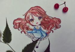 Рисунок красивую чиби девочку в голубом платье
