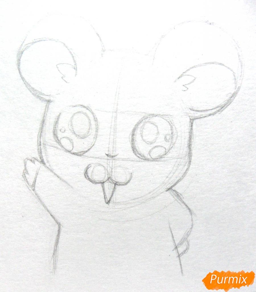 Рисуем маленького чиби хомячка карандашами - шаг 4