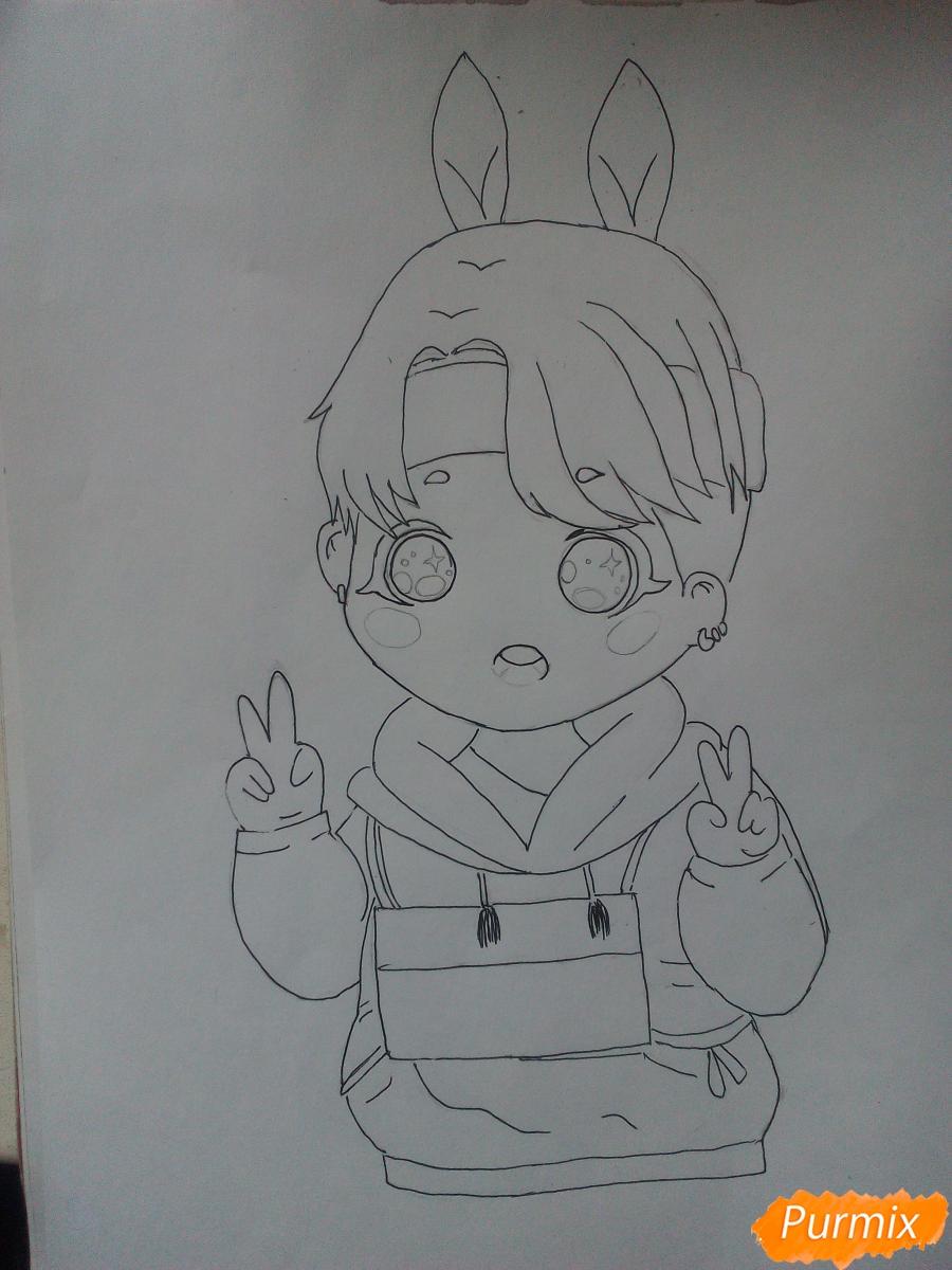 Рисуем маленького мальчика в стиле чиби карандашами - шаг 3