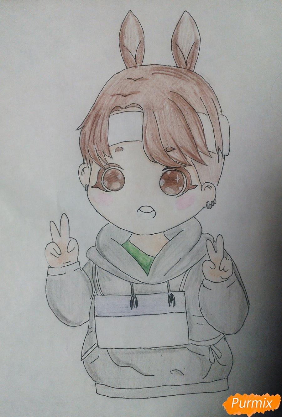 Рисуем маленького мальчика в стиле чиби карандашами - шаг 7