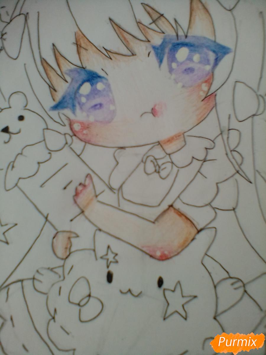 Рисуем медсестру в стиле чиби карандашами - шаг 11