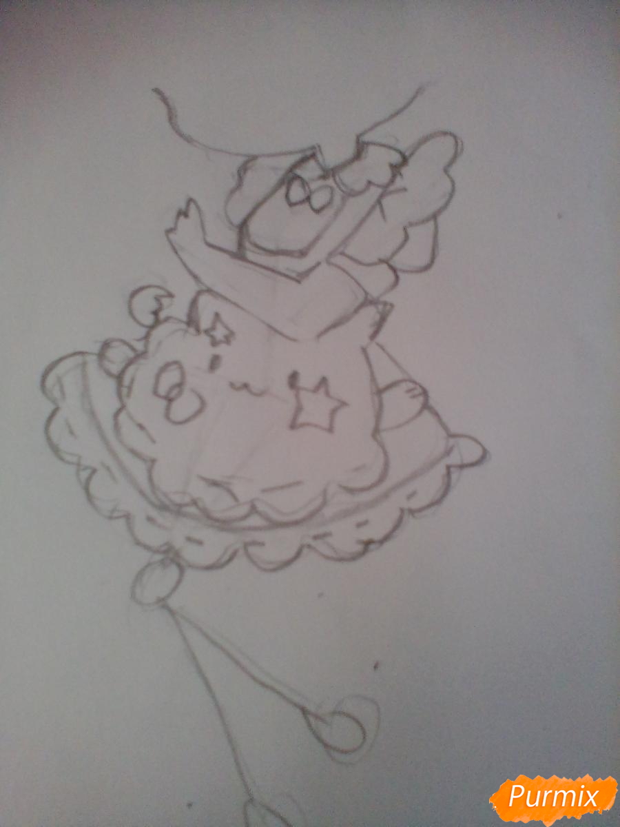 Рисуем медсестру в стиле чиби карандашами - шаг 3