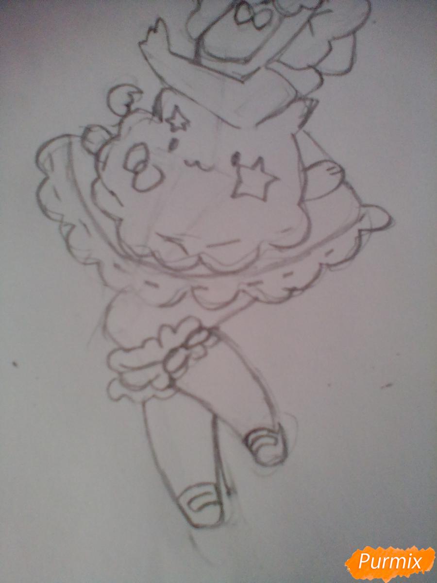 Рисуем медсестру в стиле чиби карандашами - шаг 4