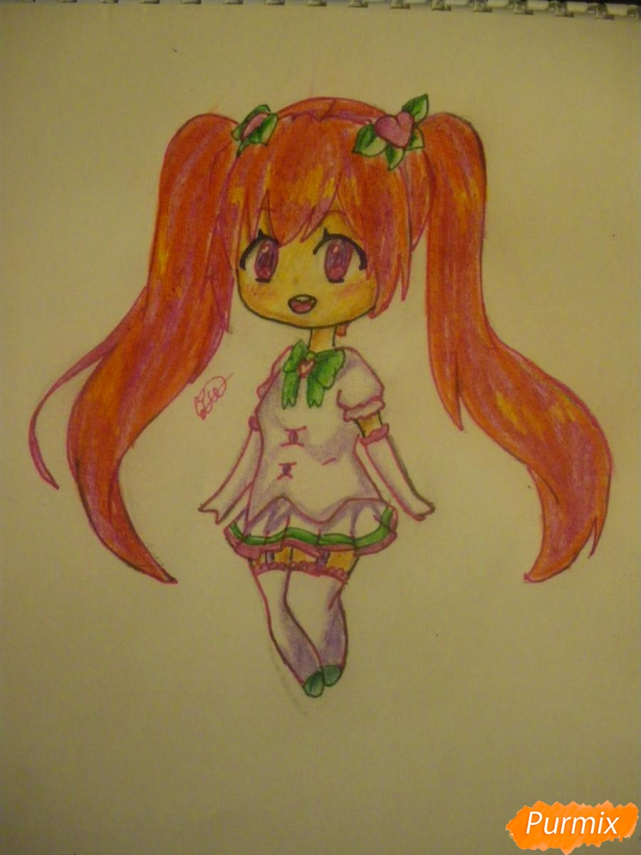 Рисуем милую чиби девочку с длинными волосами - шаг 11
