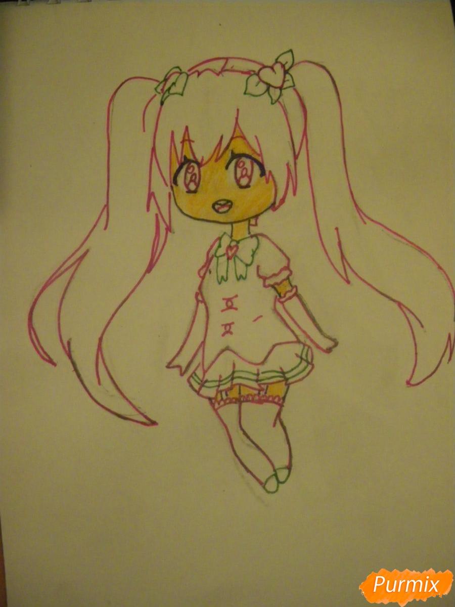 Рисуем милую чиби девочку с длинными волосами - шаг 8