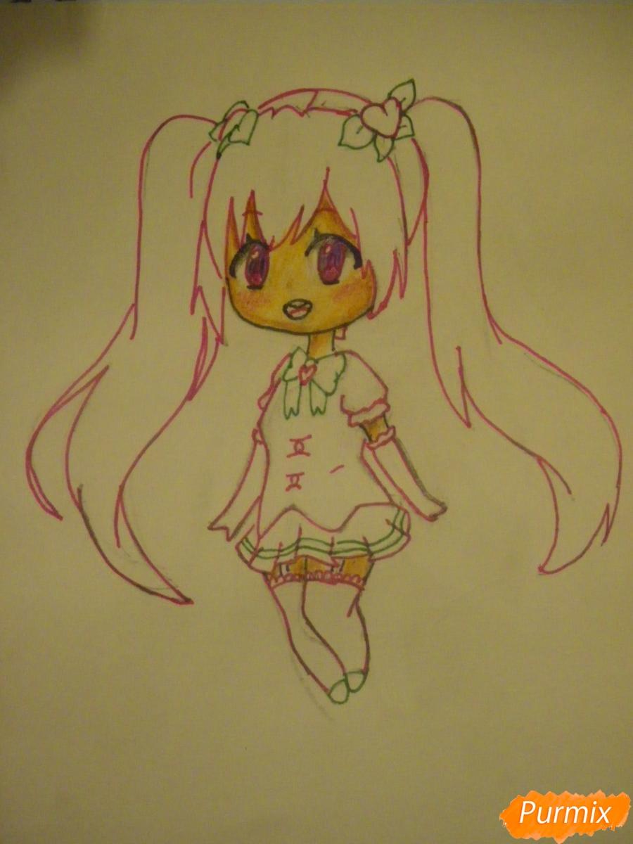 Рисуем милую чиби девочку с длинными волосами - шаг 9