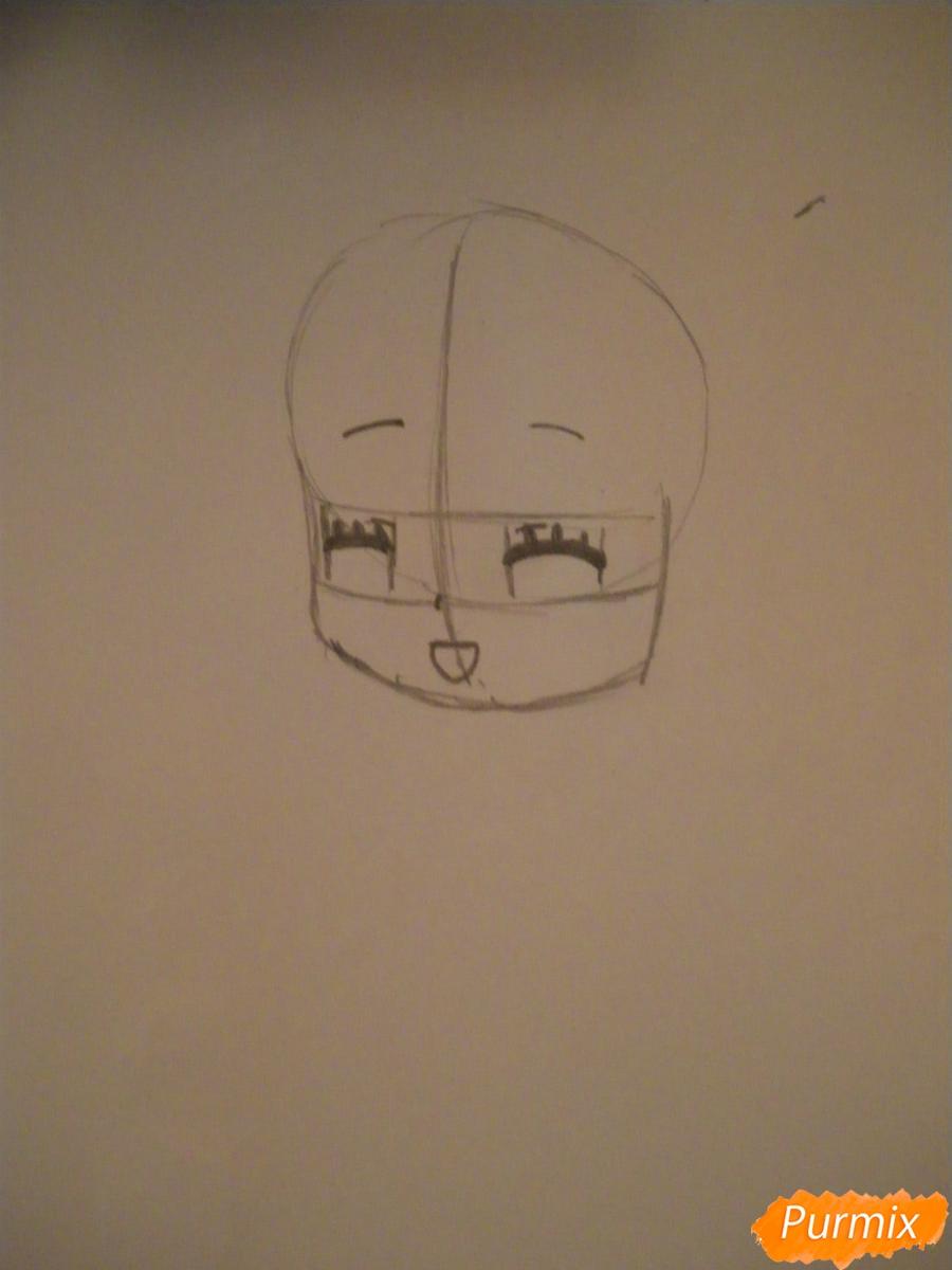Рисуем милую чиби девочку с плюшевым зайкой - шаг 2