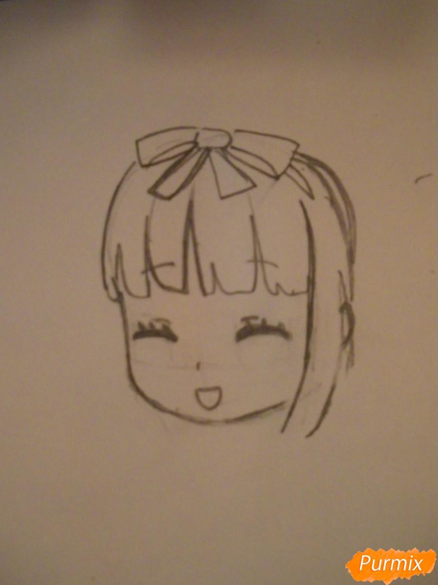 Рисуем милую чиби девочку с плюшевым зайкой - шаг 3
