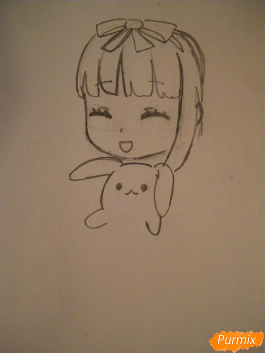 Рисуем милую чиби девочку с плюшевым зайкой - шаг 4