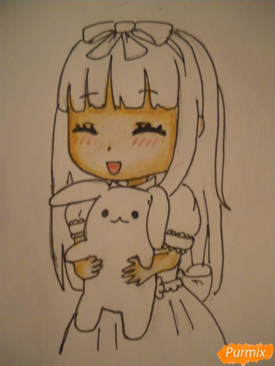 Рисуем милую чиби девочку с плюшевым зайкой - шаг 9