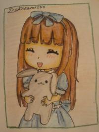 Рисунок милую чиби девочку с плюшевым зайкой