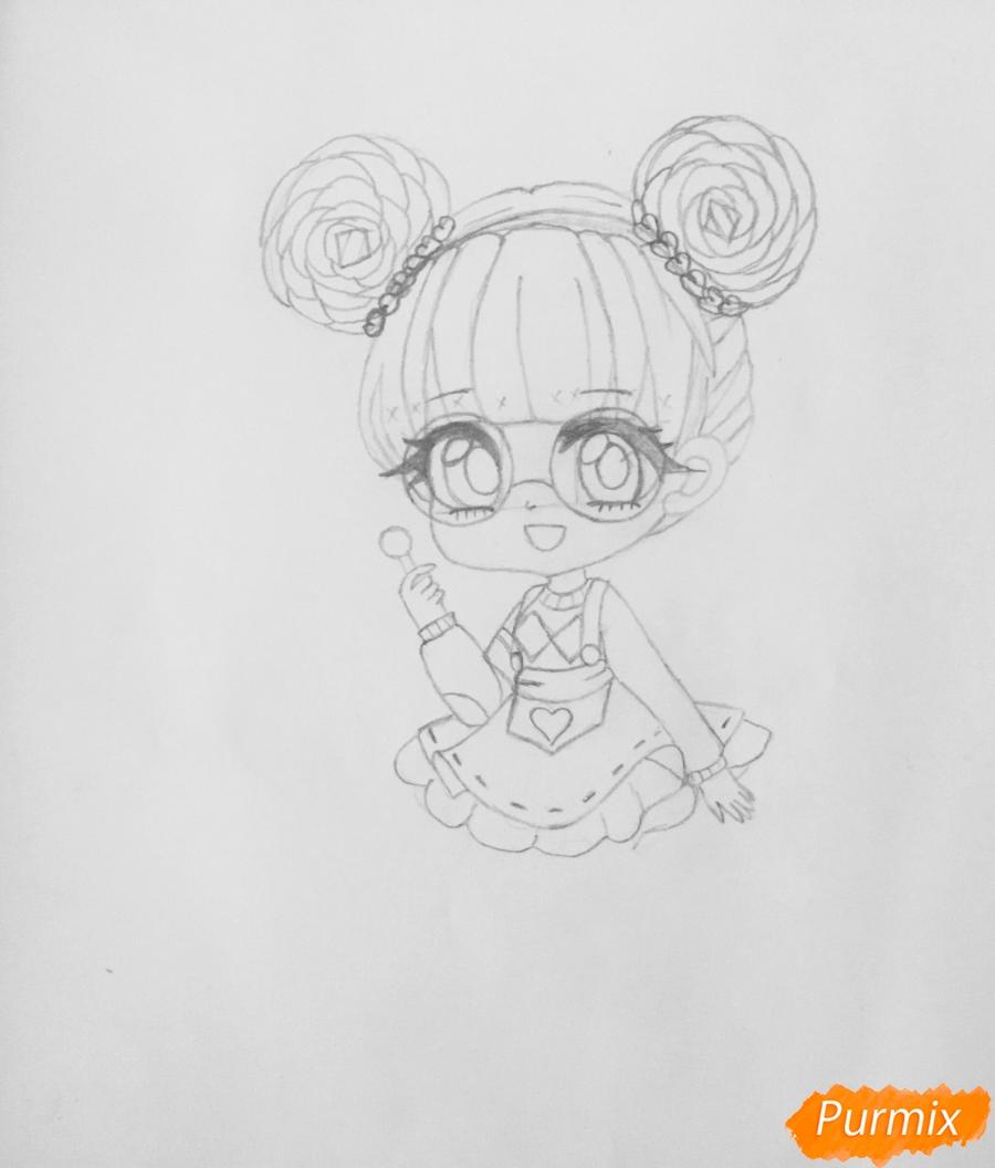 Рисуем милую чиби девочку в очках и с леденцом в руке - шаг 5