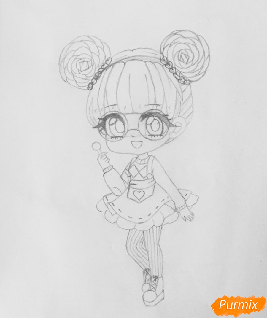 Рисуем милую чиби девочку в очках и с леденцом в руке - шаг 6