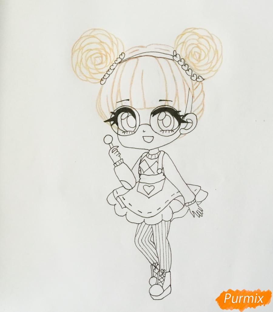 Рисуем милую чиби девочку в очках и с леденцом в руке - шаг 7