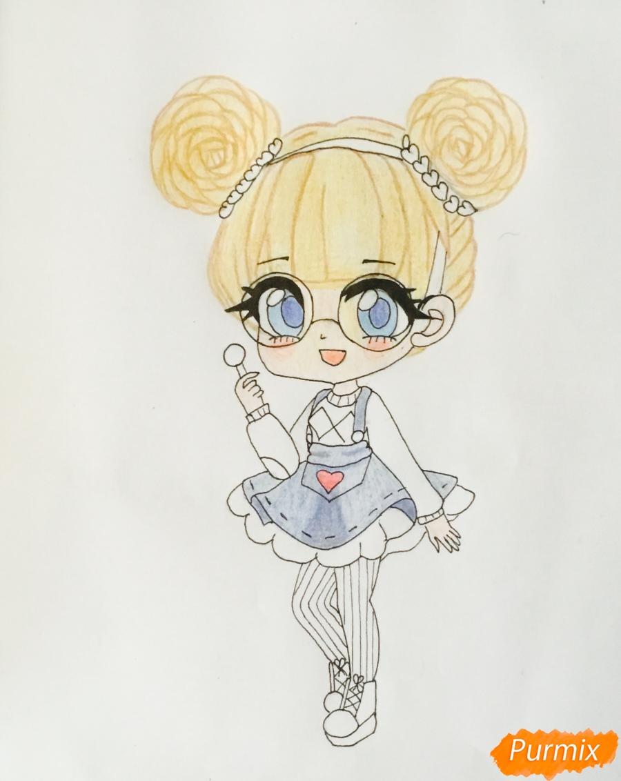 Рисуем милую чиби девочку в очках и с леденцом в руке - шаг 8