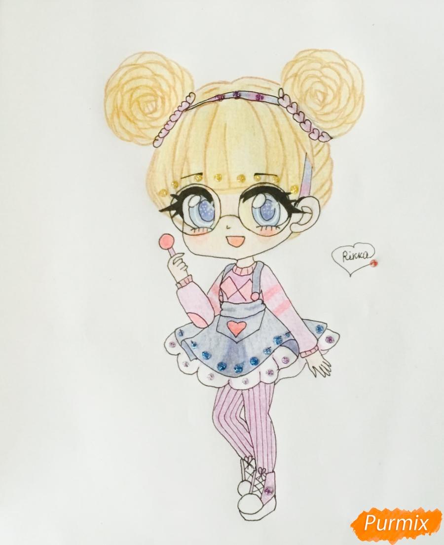 Рисуем милую чиби девочку в очках и с леденцом в руке - шаг 9