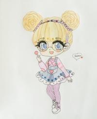 Фото милую чиби девочку в очках и с леденцом в руке