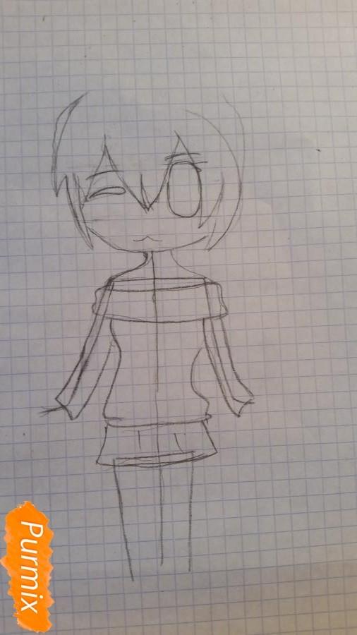 Рисуем милую чиби девочку в свитере - шаг 2