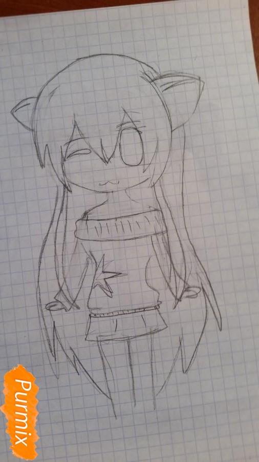 Рисуем милую чиби девочку в свитере - шаг 3