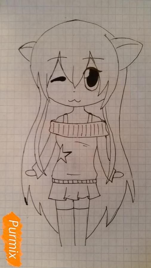 Рисуем милую чиби девочку в свитере - шаг 4