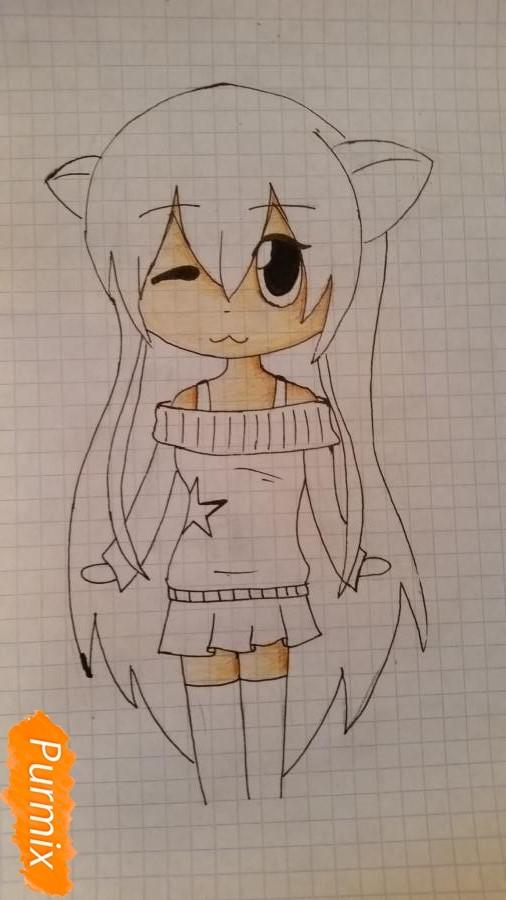 Рисуем милую чиби девочку в свитере - шаг 5