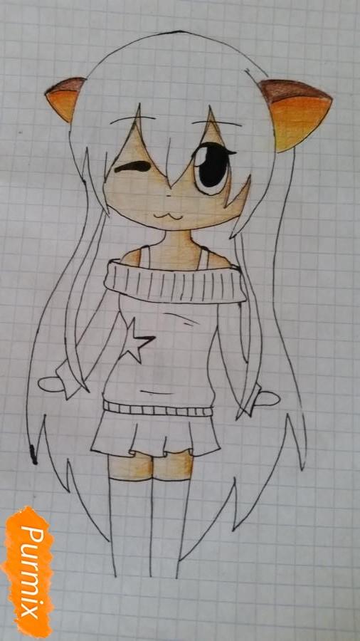 Рисуем милую чиби девочку в свитере - шаг 6