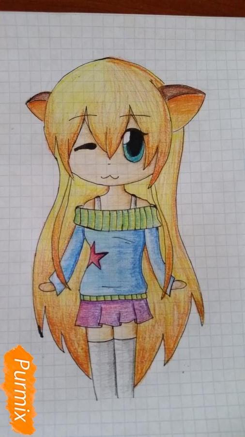 Рисуем милую чиби девочку в свитере - шаг 7