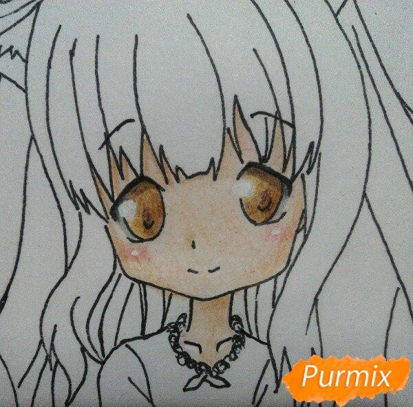 Рисуем милую чиби-тян цветными карандашами - шаг 12